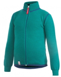 WOOLPOWER Kids Full Zip Jacket 400 - blauw - groen - rose