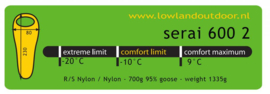 LOWLAND OUTDOOR® Serai 600 2 - 1335 gr - 230x80 cm -10°C