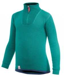 WOOLPOWER Kids Zip Turtleneck 200 - blauw - groen - rose
