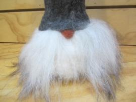 Tomte groot (30 cm) grijze muts/witte baard
