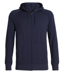 Icebreaker mens Helliers LS Zip Hood/Midnight Navy-Medium