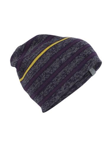 Icebreaker Muts Atom Hat Gritstone Heather/Burgundy/Eggplant