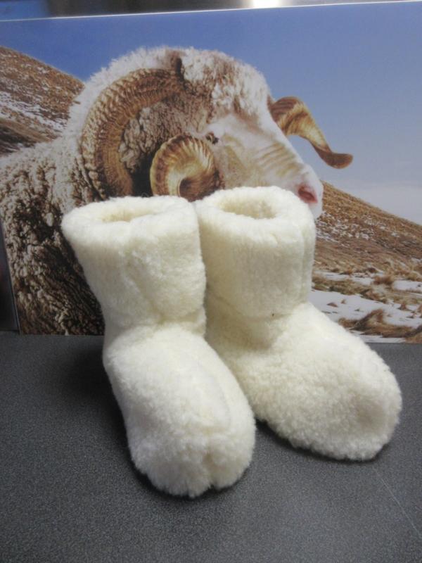 Wollen Pantoffels (sloffen)  - gebroken wit