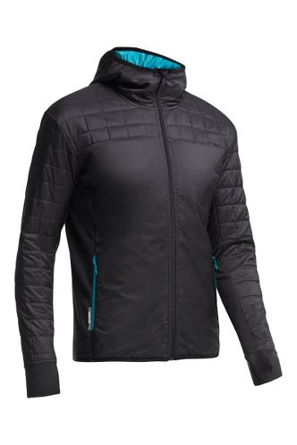 Icebreaker Mens Helix LS Zip Hood Carbon/Alpine XLarge