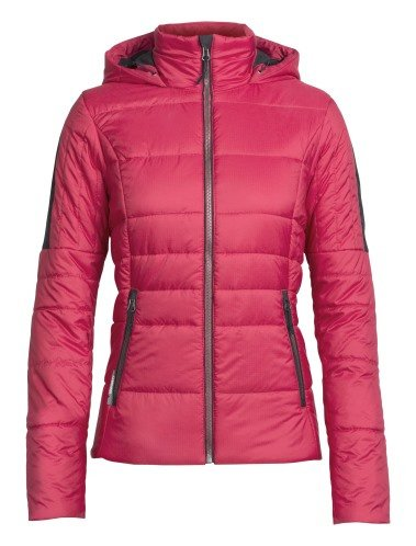Icebreaker Wmns  Stratus-X Hooded Jacket Wild Rose/Jet Hthr -Small
