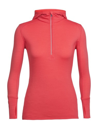 Icebreaker Wmns Rush LS Half Zip Hood / POPPY RED -Small