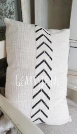 KUSSEN mud cloth  - creme/zwart - 40x60 cm