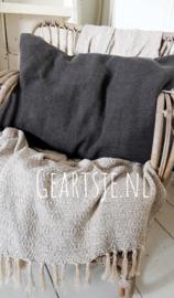 KUSSENHOES - zwart stonewashed - 50x70 cm - Jeanne d 'Arc Living -