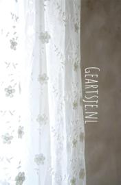 TULE met bloemetjes - 4 m - creme - Jeanne d'Arc Living