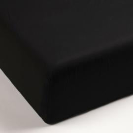Percal hoeslaken zwart 160x220 (tot 25cm)