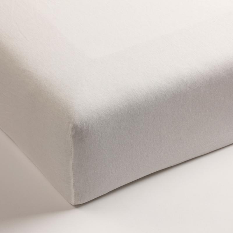 Jersey hoeslaken met elastan offwhite (hoekhoogte 40cm)