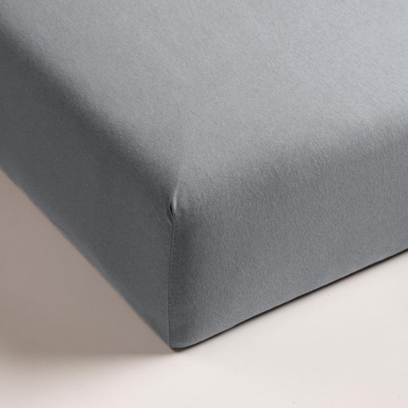 Jersey hoeslaken met elastan licht grijs (hoekhoogte 40cm)