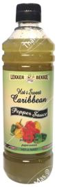 Lekkerbek Green Hot & Sweet caribbean peper saus