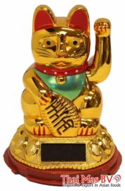 Geluksbrenger zwaaiende kat goudkleurig 8.75 cm