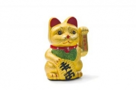 Geluksbrenger zwaaiende kat goudkleurig 22,5 cm