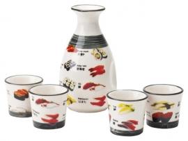 Sake karaf met 4 bekers 1 SET