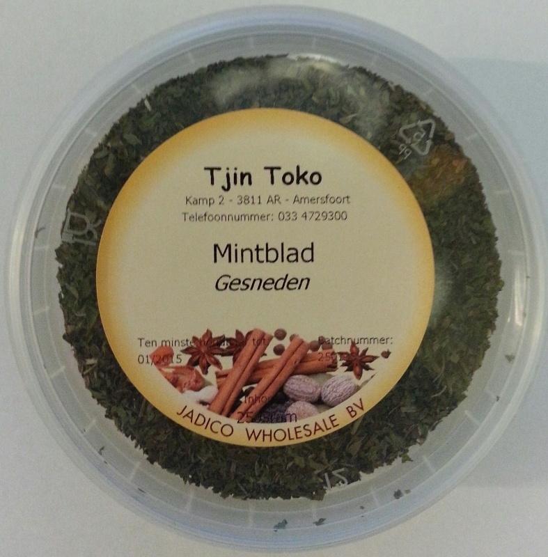 Mintblad gesneden (droog) 25gr
