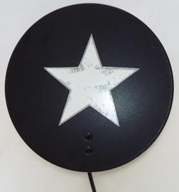 Wandlampje Round & Round met ster Zwart