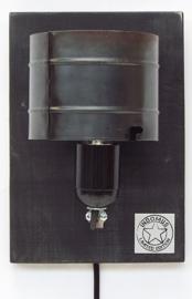 Alu Wandlampje / Zwart RAW paneel (alléén LED-lampen gebruiken)