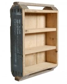 Wandkastje munitiekist met 2 planken