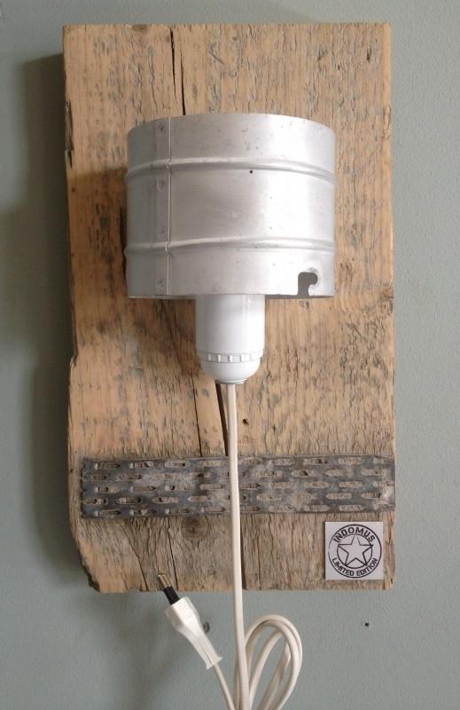 Alu WandLamp / Steigerhout (alléén LED-lampen gebruiken)