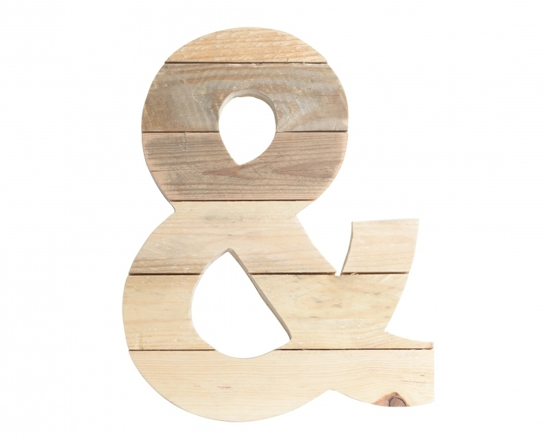 Houten -&- teken van sloophout 20cm hoog (matcht bij sloophouten letters)