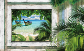 Fotobehang Uitzicht over Tropisch Strand, Zee en Boot