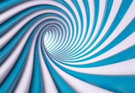 Fotobehang Modern 3D Tech Tunnel Blue And White