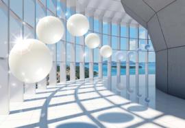 Fotobehang Modern gebouw met kust uitzicht