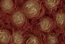 Fotobehang Gouden rozen in structuur
