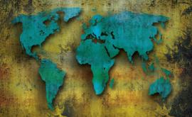 Fotobehang Wereldkaart Blauw met Geel