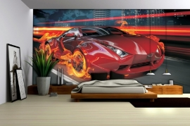 Fotobehang race auto met vlammen