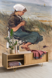 Dutch Painted Memories 8090 Knitting girl on a dune