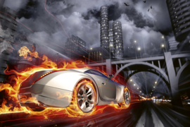 Fotobehang Auto in vlammen
