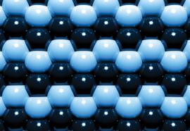 Fotobehang Modern 3D Blue And Black Ball Pattern