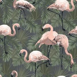 Botanisch behang met Flamingo's