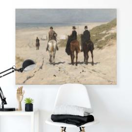 Canvasdoek Morgenrit langs het strand, Anton Mauve, 1876