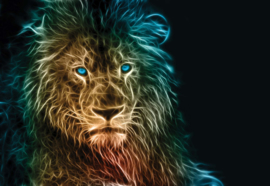 Fotobehang Lion Modern Lights