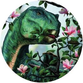 Komar Into Adventure DNG1-003 National Geographic DOT Iguanodon Eating Flowers cirkel zelfklevend 125cm