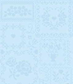 Eijffinger Pip Studio behang  386002 Cross Stitch Blauw