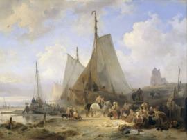 Fotobehang Vissersschepen op het strand met vissers en vrouwen die de vangst sorteren - Wijnand Nuijen