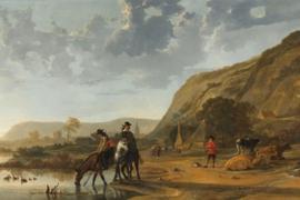 Fotobehang Rivierlandschap met ruiters - Aelbert Cuyp