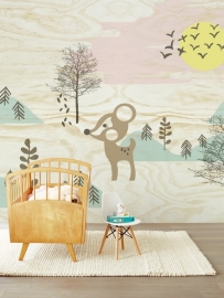 Kinderbehang Eijffinger Tout Petit 354157 Bambi in the woods