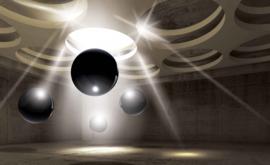 Fotobehang Abstract Black Spheres
