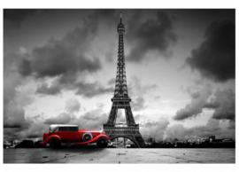 Fotobehang Eiffeltoren met retro auto