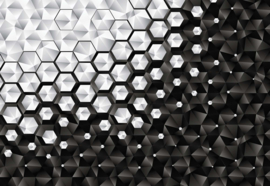 Fotobehang Modern 3D Silver And Black Hexagonal Pattern