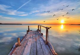 Fotobehang Lake Sunset Pier
