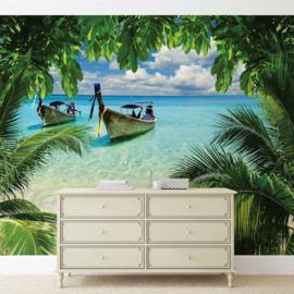 Fotobehang Tropisch Strand, Zee en Boot