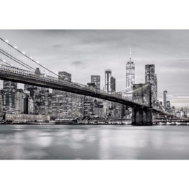 Fotobehang Brooklyn Bridge NYC Zwart Wit