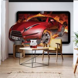 Fotobehang Red Car in Flames